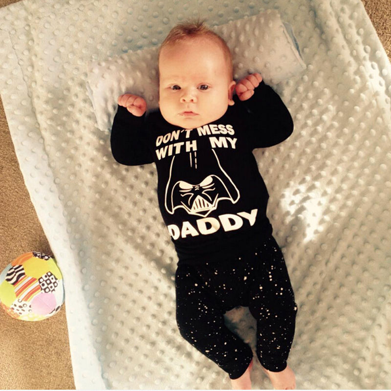 Star War 2 Pcs Newborn Kids Baby Girl Boy Clothing Set Infant Babies Long Sleeve T-shirt Tops+Pants Outfits Sets Clothes baby fox print clothes set newborn baby boy girl long sleeve t shirt tops pants 2017 new hot fall bebes outfit kids clothing set