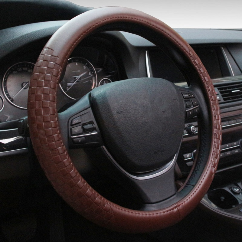 Universal Car Steering Wheel Cover Genuine Leather Auto Steering Cover Case for BMW Mini Cooper Chevrolet