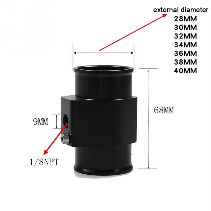 28/32/34/40mm Car Water Temp Joint Pipe Radiator Hose Temperature Gauge  Sensor Adapter Black