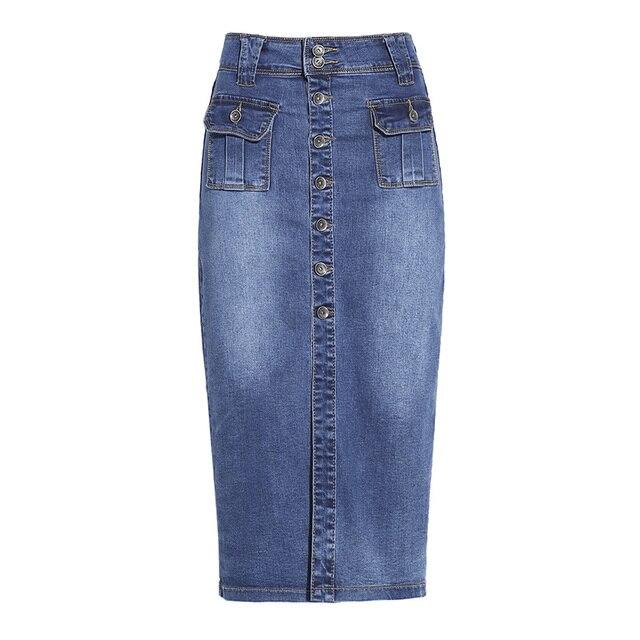 62fffb8f494 Falda tubo de mujer 2017 coreana Casual bolsillo delgado de cintura alta  falda de mezclilla azul