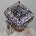 Handmade size 6-10 Women's Silver Huge Radiant White Sapphire Simulated Diamond Stone CZ Pave Set Wedding Ring