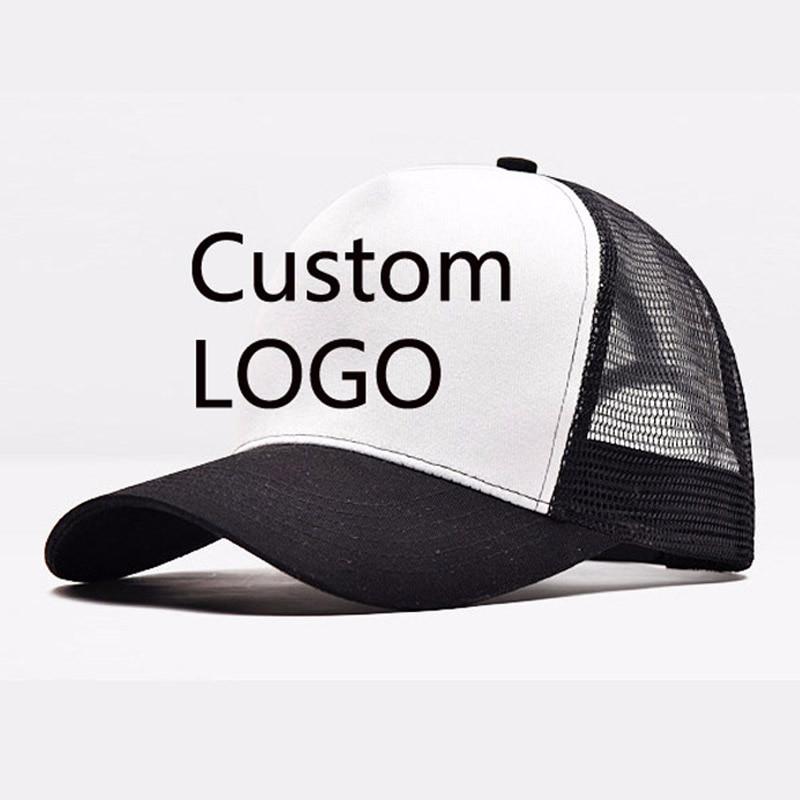 Custom Logo on Trucker Mesh Hats Curved Bent Visor 5 Panels Contrast Color Small Order Team