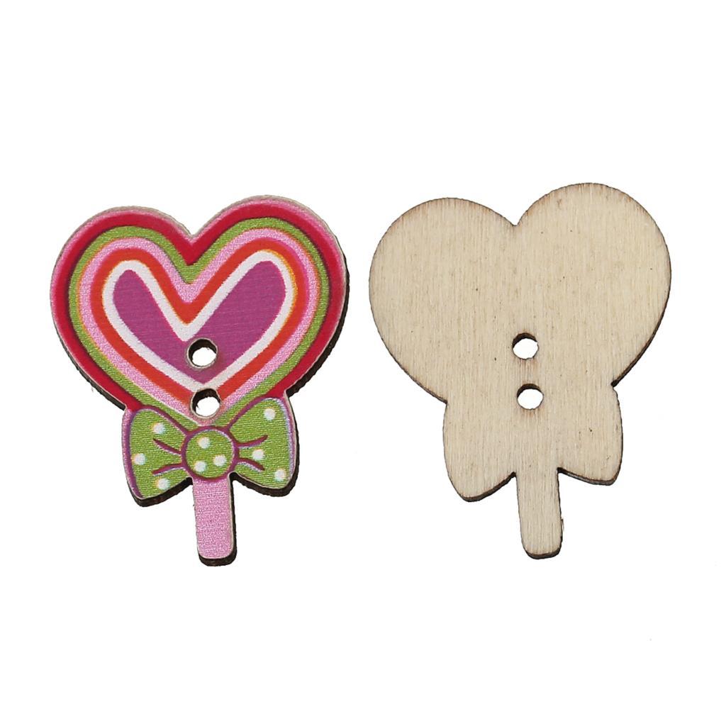 ツ)_/¯Doreenbeads madera Costura botón scrapbooking Lollipop ...