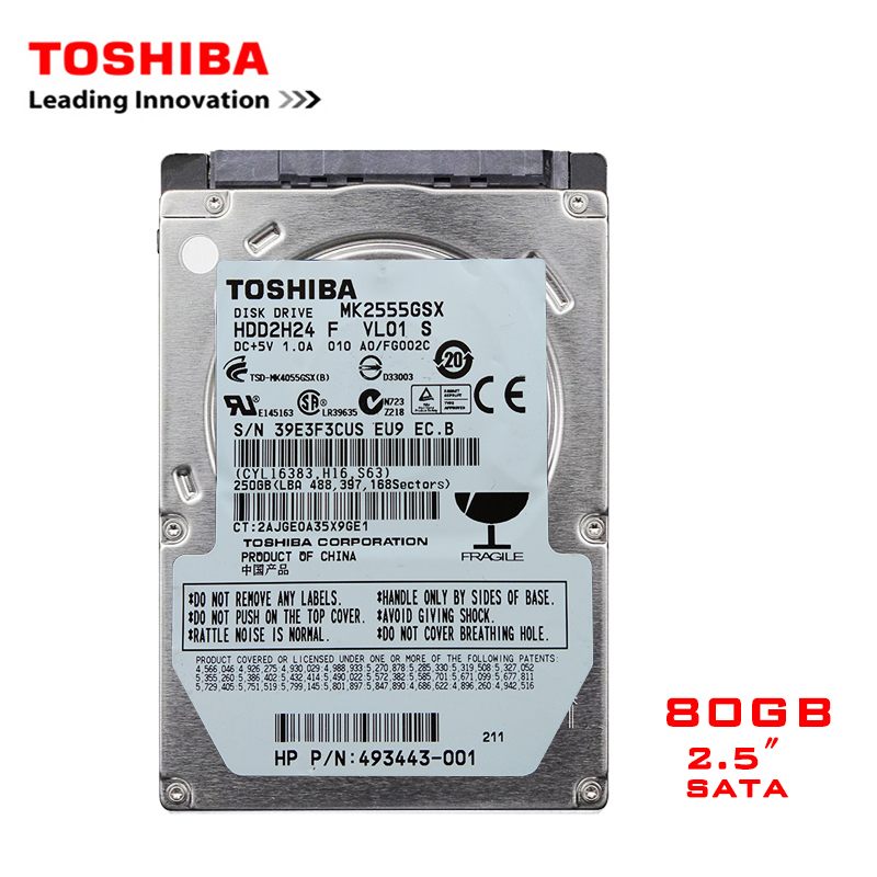 "TOSHIBA Brand 80GB 2.5"" SATA Laptop Notebook Internal HDD Hard Disk Drive 100MB/s 2mb/8mb 5400RPM-7200RPM disco duro interno"
