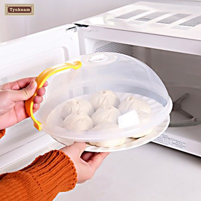 Plastic Microwave Plate Cover Clear Steam Vent Splatter Lid Food Dish Proof Screen Protector