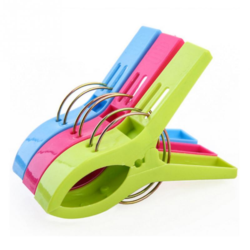 8pcs Plastic Color Clothes Pegs Beach Towel Clamp Laundry Clothes Pins Large Size Drying Racks Retaining Clip Organization 5 in Clothes Pegs from Home Garden