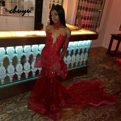 Red Prom Dresses Mermaid Deep V-Neck Long Sleeves Appliques Illusion Prom Dress Robe De Soiree Evening Dress