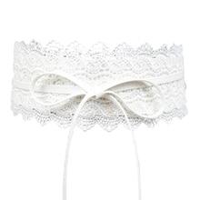 2018 nueva negro blanco corsé ancho correa del cordón femenino auto Tie  Cinch cinturones para mujeres vestido de boda cintura 970c6fec8cef
