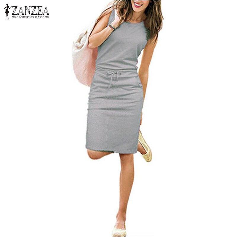 Zanzea Vestidos 2016 Summer Fashion Women Ladies Casual Dress Round Neck Sleeveless Solid Slim Dresses Plus Size S-4XL