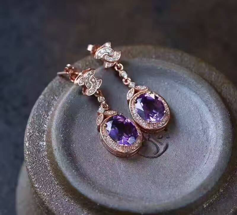 Fashion natural amethyst drop earrings Natural gem stone earrings bow knot round 925 silver female wedding