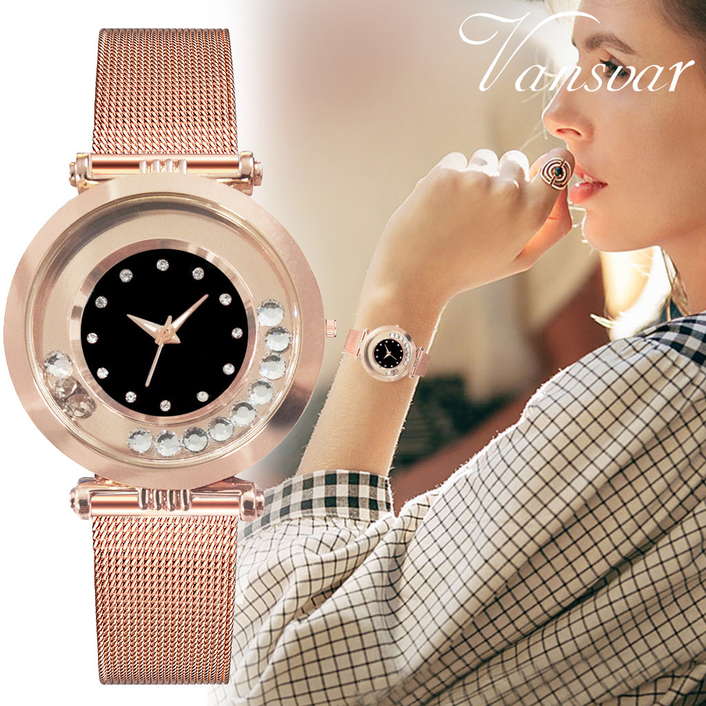 Vansvar Modern Fashion Black Quartz Watch Women Mesh Stainless Steel Watchband High Quality Casual Wristwatch Gift For Female533