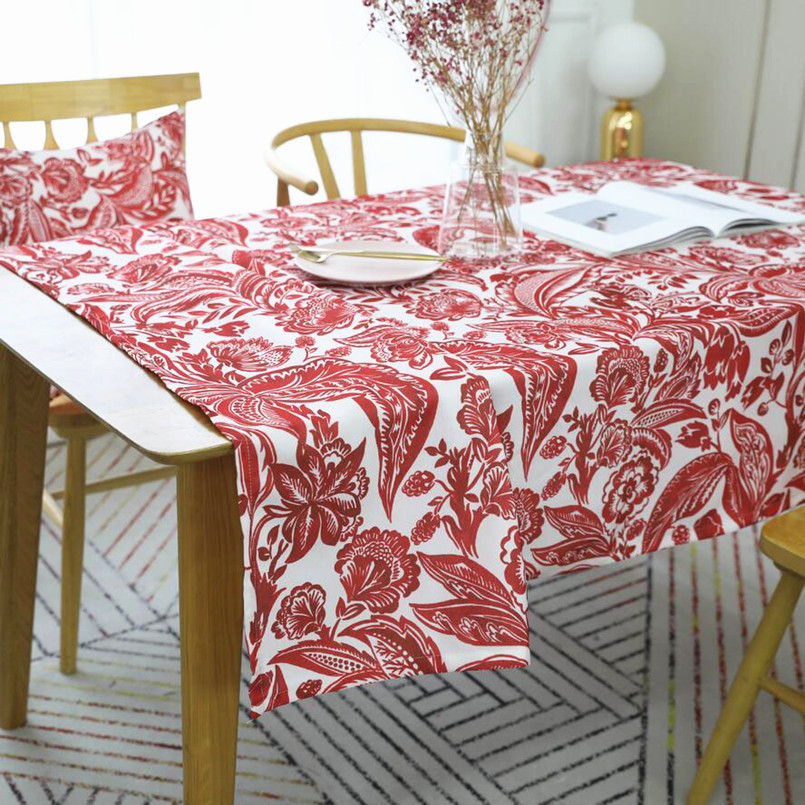 New Waterproof Modern Tablecloth For Dinner Decor Printing Red Table Cover Rectangular Wedding Table Cloth For Home Decoration in Tablecloths from Home Garden
