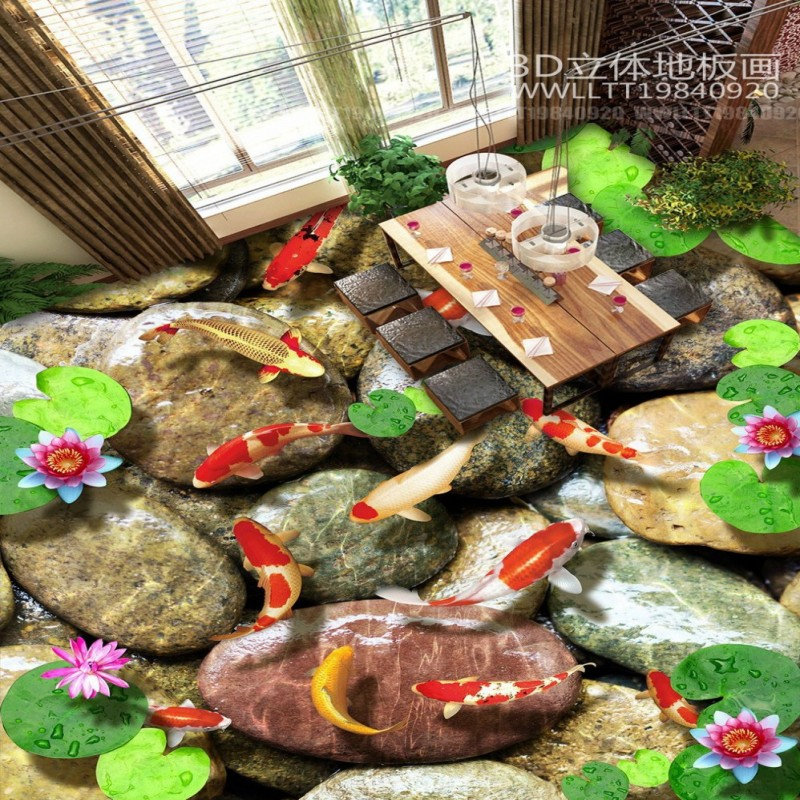 Free Shipping Stone carp lotus 3D floor self-adhesive thickened study bathroom living room flooring wallpaper mural free shipping marble texture parquet flooring 3d floor home decoration self adhesive mural baby room bedroom wallpaper mural