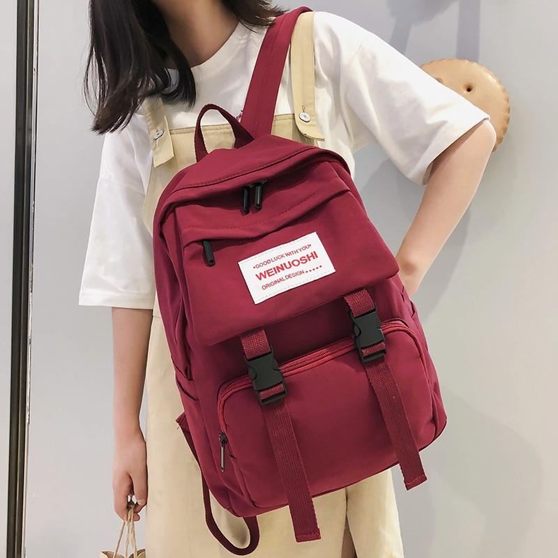 Waterproof Buckle Backpack Women Large Capacity School Bags For Teenage Girl Nylon Backpack Multi Pocket Female Fashion Bag Lady