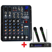 Freeboss KV-8500 VHF 2 Handheld Wireless Microphone + SMR6 Audio Mixer