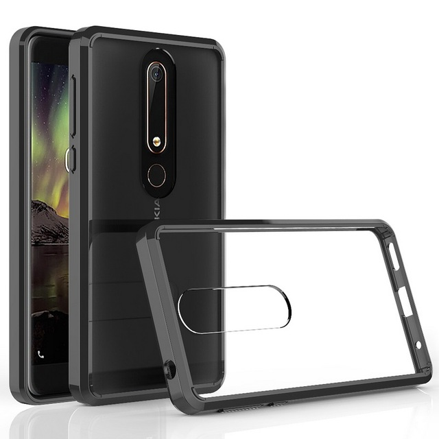 huge selection of cf50a 550e8 US $3.06 35% OFF For Nokia 6.1 Case TPU Bumper + Hard PC Acrylic Clear  Hybrid Transparent Crystal Phone Cover Case For Nokia 6 2018 5.5