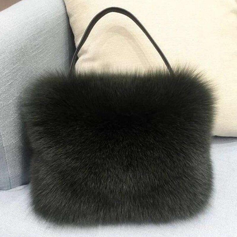 2019 Winter Candy Color Fur Clutch Women's Handbag Evening Bag Shoulder Messenger Wallet Party Bags Purse Pouch Luxury Designer