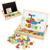 Candice guo! Children educational wooden toys multifunctional magnetic puzzle math learning the transportation spells happily