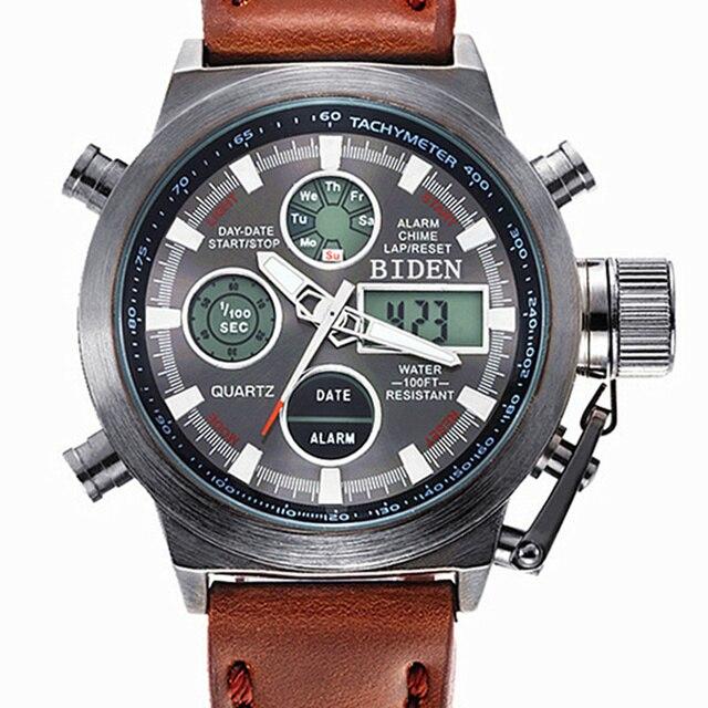 Часы мужчины люксовый бренд погружения СВЕТОДИОДНЫЕ часы спорт Военная Часы Подлинной Световой кварцевые часы мужчины наручные часы relogio мужской