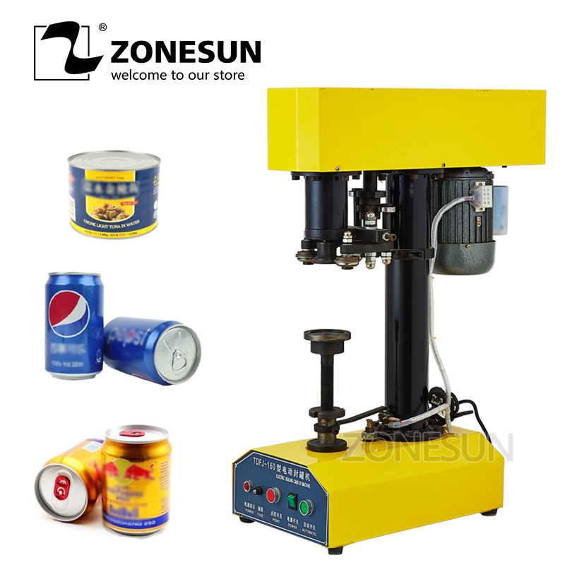 ZONESUN Automatic can sealing machine Electric food sealler round plastic paper iron steel canned food beer capping machine applicatori di etichette manuali