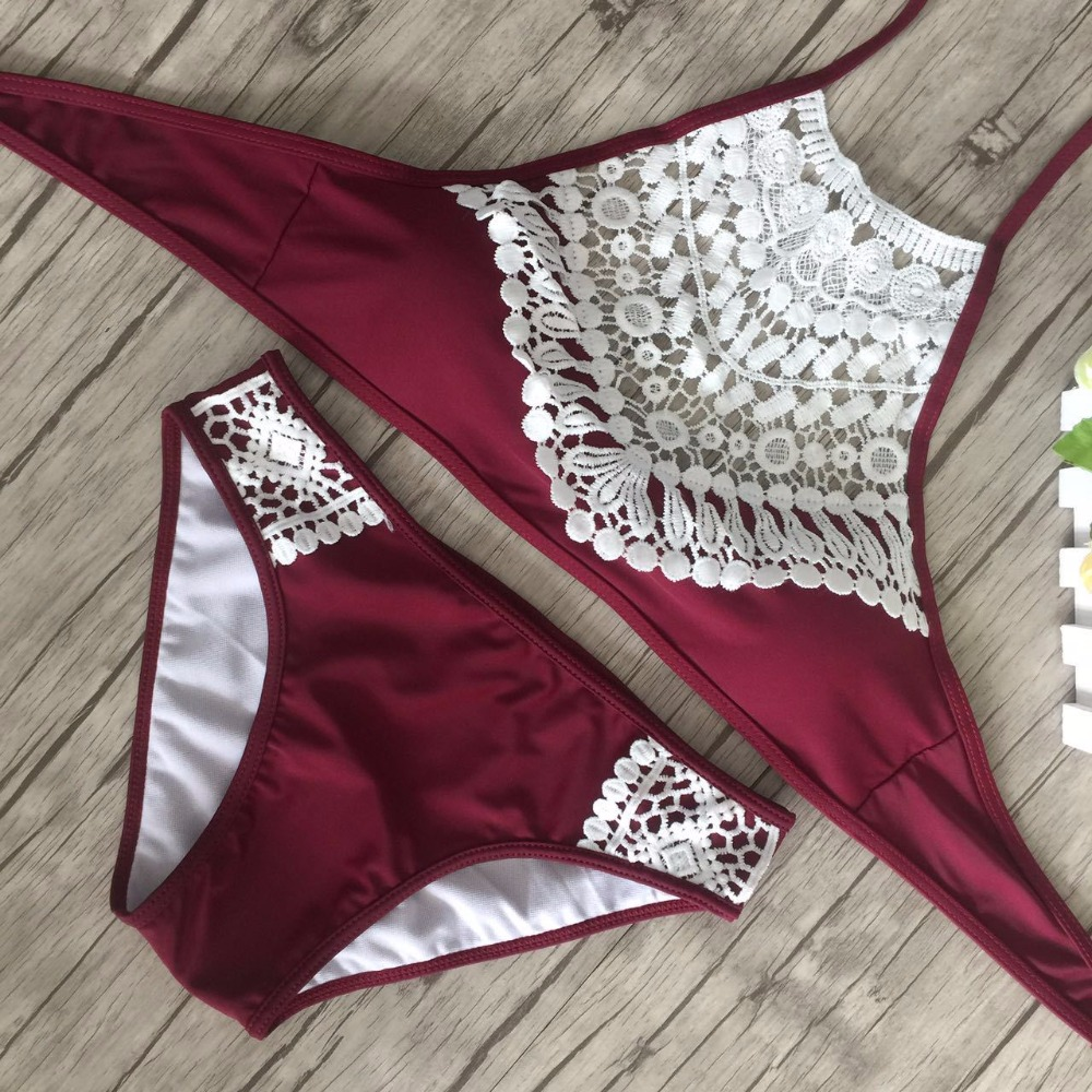2017 European American Style Women Lace Swimsuit Bathing Suit Set Sexy Hollow Out Summer Beach Push Up Bikinis Set Swimwear  Купальник