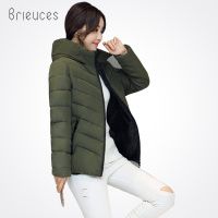 Brieuces 2017 New Plus Size Solid Short Hooded Winter Jacket Women Zipper Cotton Padded Autumn Winter