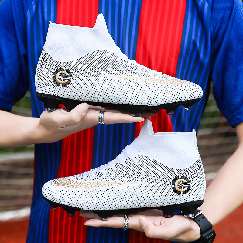Football Shoes Men Soccer Shoes Kids Cleats Training Boots High Ankle Sneakers Long Spike Sport Shoes Men TF Big Plus Size 48 49