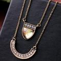 New Fashion Designer gargantilha geométrica Rhinestone camada colar e pingentes de jóias acessórios