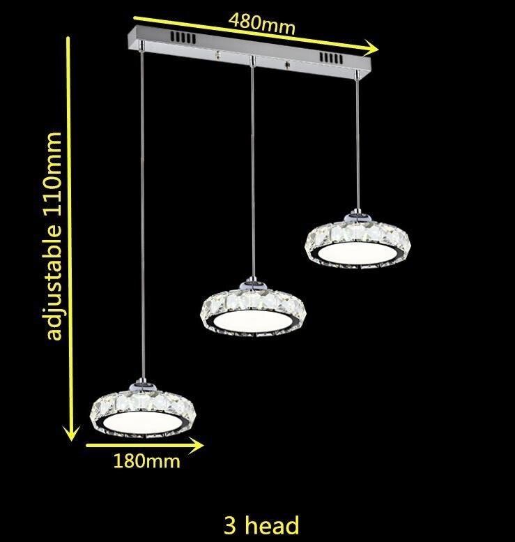 Светодиодная люстралюстра лофтсветодиодное кольцоСовременные хрустальные люстры лампы светодио дный хрустальная люстра AC110-260 кристалл лампы осветительное оборудование светодио дный свет Диаметр кулон - Цвет абажура: 3 head