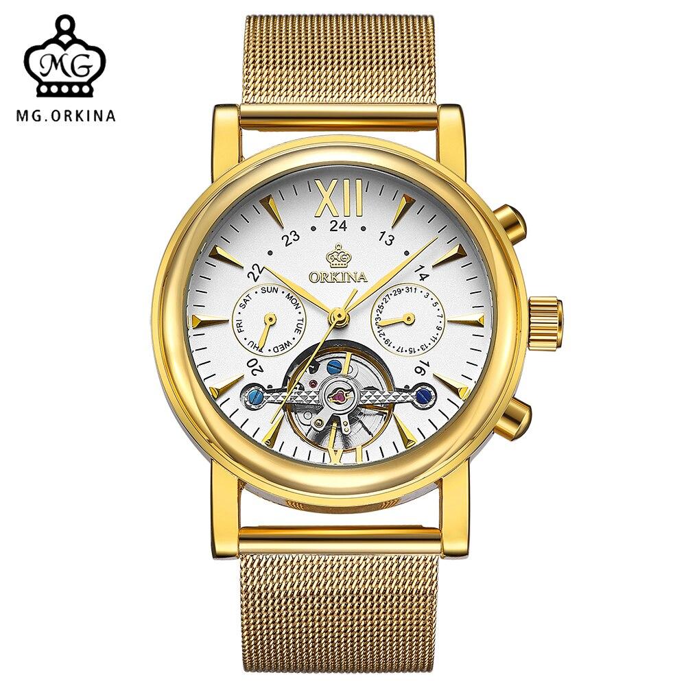 ORKINA Clock Men Automatic Watch Woven Stainless Steel Strap Tourbillon Mechanical Analogue Male Wristwatch Relogio Masculino
