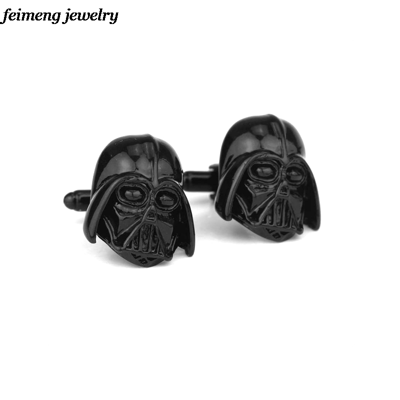 Fashion Star Wars Cuff Links Black Plated Engravable Darth Vader Star Wars Cufflinks Clasp For Men Shirt Brand Cuff Buttons Gift