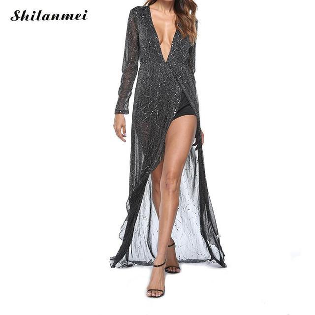 New Sexy Women Sequin Summer Long Dress Deep V Neck Side Slit Mesh Maxi Dress  Women Sexy Evening Party Dress Vestido De Festa 65731ee98093
