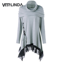 VESTLINDA Women Blouse Shirt Cowl Neck Lace Up Panel Asymmetric Long Sleeves Tunic Top Blouses Casual
