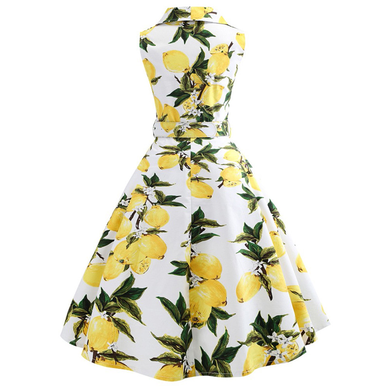 Women Summer Casual Sleeveless Print Vintage Midi Dress Turn Down Belts Button Women Elegant Party Dresses Vestidos Plus Size in Dresses from Women 39 s Clothing