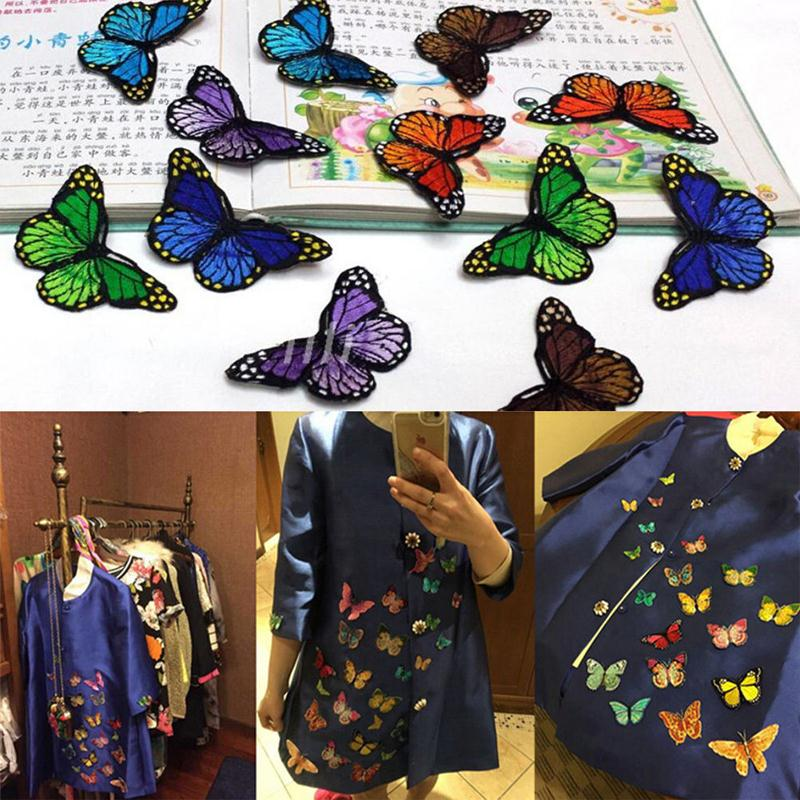 White Silver Black Butterfly Patch Iron Sew On T Shirt Jeans Embroidered Badge