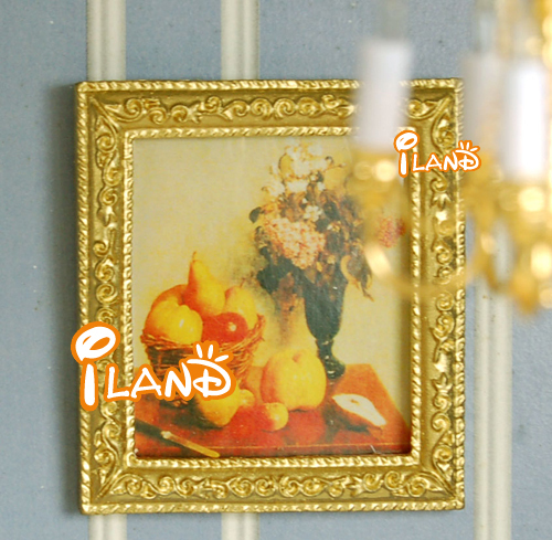 iland 1:12 Dollhouse Miniature accessories  frame Picture Golden Craved Fruit & Flower
