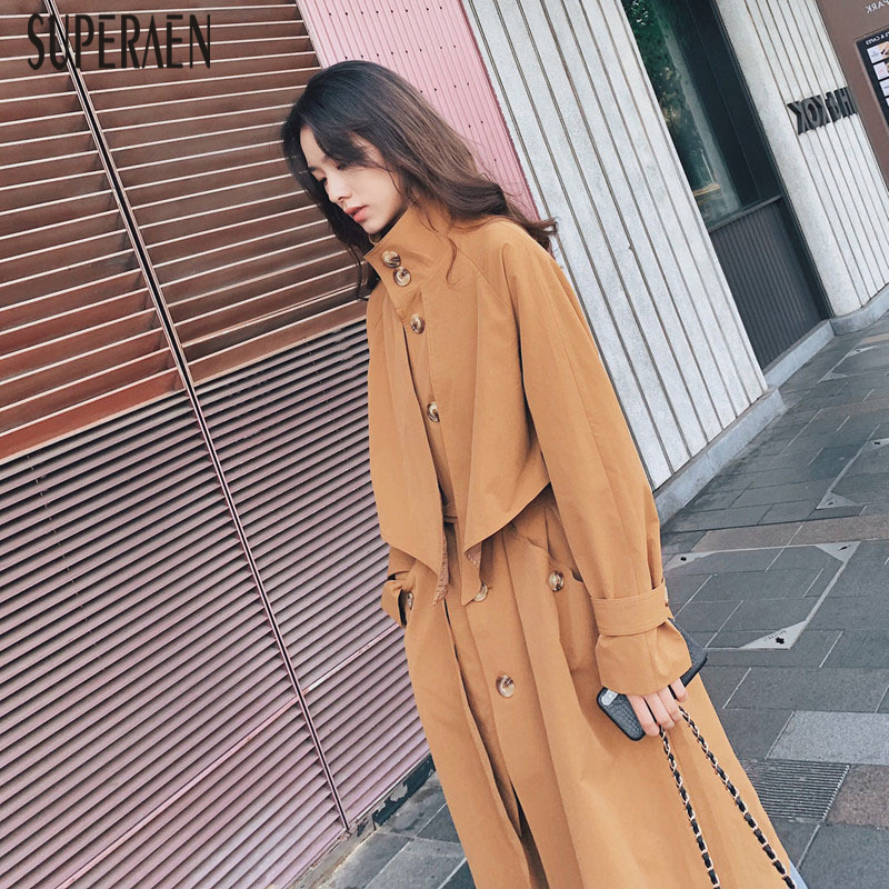 SuperAen Spring and Autumn Fashion Windbreaker Female New Temperament Casual   Trench   Coat for Women Wild Cotton Women Clothing