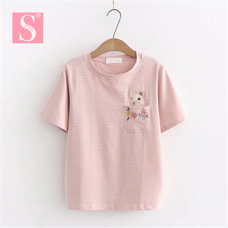 STVY Funny Pocket Flower Rabbit Embroidery T-shirts 2018 Summer Casual Loose Stripe T-shirts For Women 5 Colors