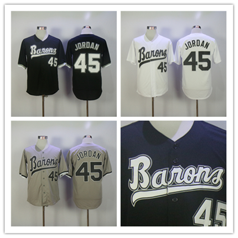 Mens Birmingham Barons Jersey Michael Jordan Rookie 45 Baseball Jersey Stitch Sewn M-3XL rookie yearbook four