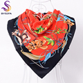 [BYSIFA] Ladies Red Black Twill Square Scarves Shawl Spring Autum French Design Large Silk Scarf Women Headscarves 90*90cm