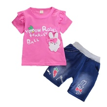 Children's Sets Summer Girls T-shirt Shorts Set 2pcs Cute Cartoon Print Casual T-shirt Denim Pant Baby Girls Clothes Set недорого
