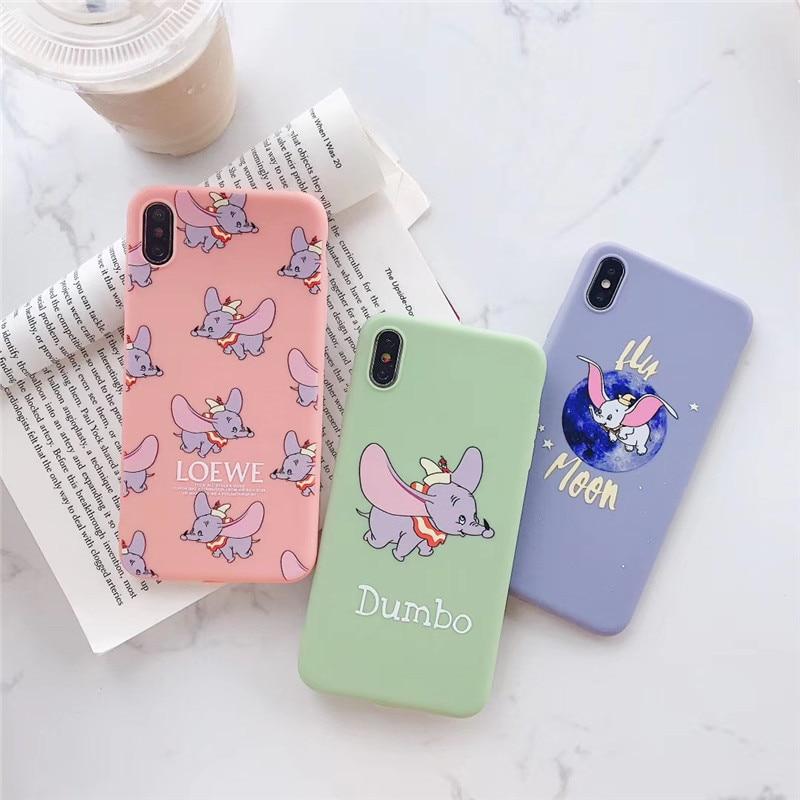 Phone Case For IPhone 6 6s 7 8 Plus X XR XS Max Simple Cartoon Disneys Flying Elephant
