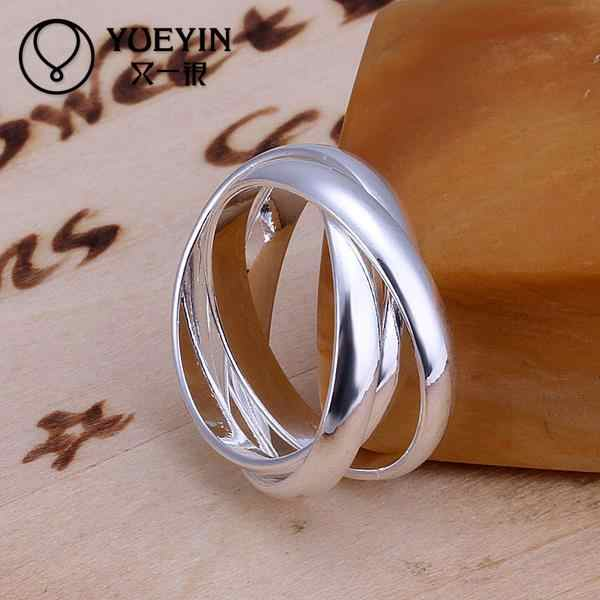 Silver Plated Personality Three Circles Rings the New Allergy Free Valentine's Day Gift Hot Sale