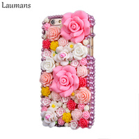 Laumans For iphone 4S 5S 5C SE 6 6s PLUS 7 8 PLUS Luxury DIY Colorful Bling Diamond Rhinestone rose flower case for iphone X