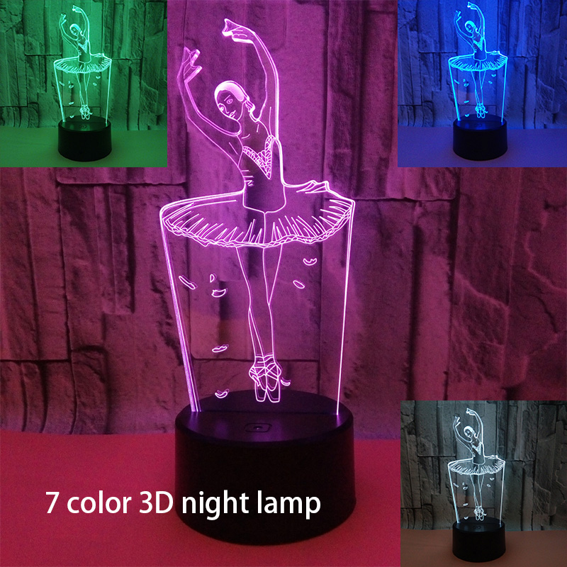 3D Visual Night Light Abstract Ballet Dancer 3D Led Table Desk Lamp Acrylic Colorful Ballerinator Atmosphere Lamp Remote Control