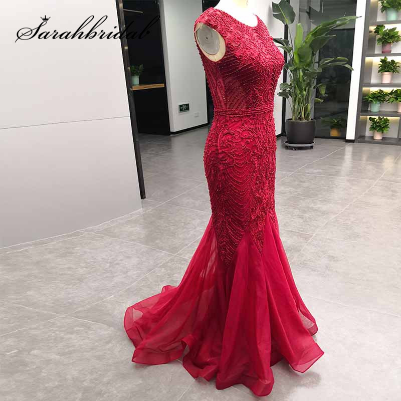 Red Mermaid Evening Party Dress 2019 Long Close Back Sleeveless Beaded Embroidery Formal Ceremony Prom Party
