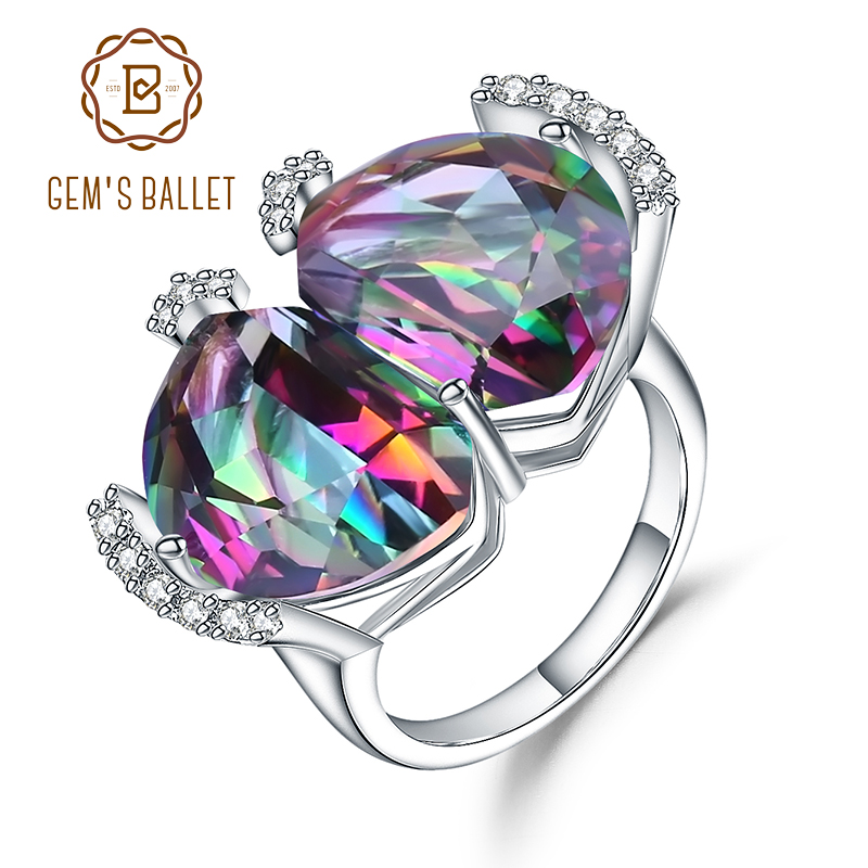Gem s Ballet Luxury Cocktail Rings Natural Rainbow Mystic Quartz Gemstone 925 Sterling Silver Ring For