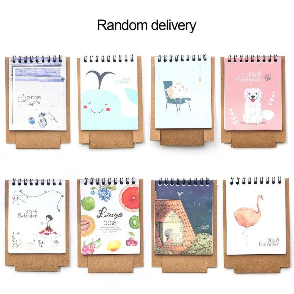 DIY Cute Cartoon Table Stand Desk Pad Calendar Paper Rack With Notes Section for Home School Office Schedule Plan