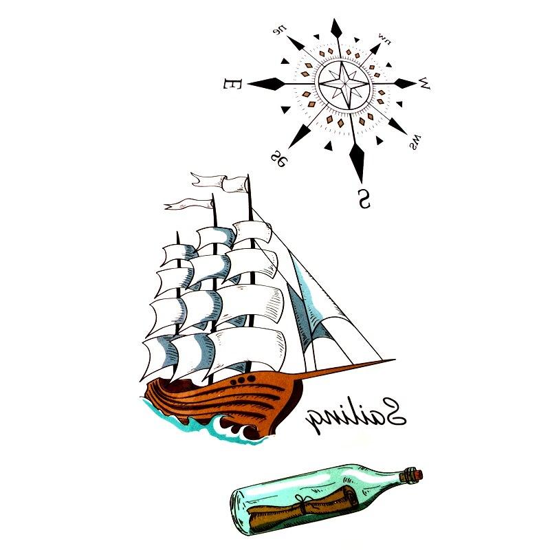 spesso Barca a vela Impermeabile Tatuaggi Temporanei uomini alla deriva  TM45