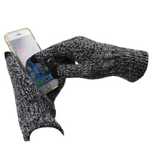 Gloves For Men Women Winter Warm Fashion Solid Thicken Black Touch Screen Knitted Gloves pair of fashionable button stripy touch screen thicken pu gloves for men